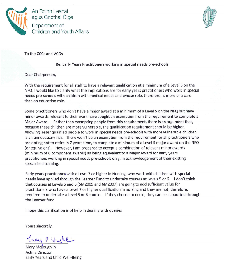 Qualifications For ECCE Letter 8 Jan 2015