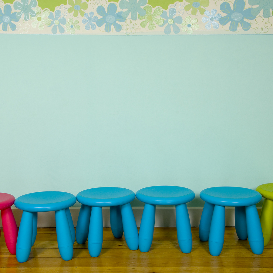 Row Of Stools At A Nursery