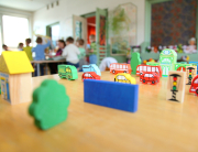 different varicoloured toys in kindergarten close up