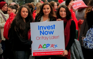 15/11/2016 Childcare workers (L to R) Abbie Chandley from Tougher, Shauna Daly from Kinsale & Hannah Crowley from Skibereen protesting outside Leinster House on Molesworth Street, Dublin. They were calling for a wage hike amid claims that some workers in the sector can earn less than €10 per hour. Photo: Gareth Chaney Collins