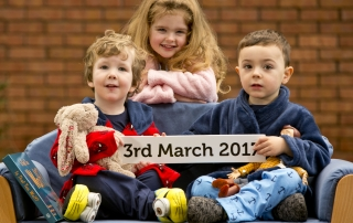 News 24012016. No repro fee. Pictured from left is Sebastian Staunton-Smith(3) from Malahide with Hollyann Farrelly(5) from Tallaght and Elliott Smith(3) from Tallaght at the launch of National Pyjama Day 2017 which takes place in creches and preschools nationwide on Friday 3rd March, with registration now open on www.earlychildhoodireland.ie. Over 60,000 children and 1,000 early years settings are expected to participate in this Early Childhood Ireland fundraiser, now in its 14th year having raised over 2.5 million euro for children's charities in Ireland, which is all about children helping children and having fun by wearing their PJs into preschool.  Chris Bellew /Fennell Photography.