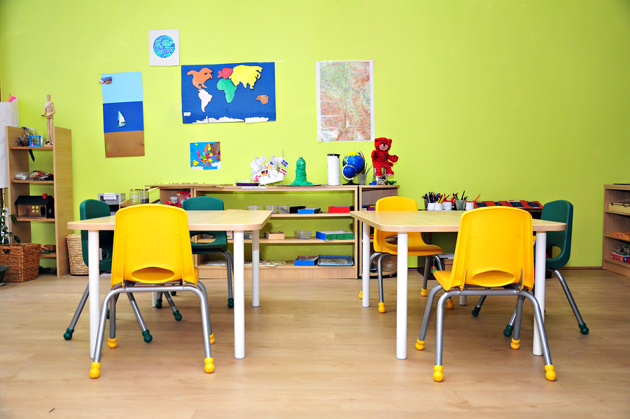 The interior of a kindergarten preschool classroom. ** Note: Visible grain at 100%, best at smaller sizes