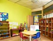 Interior of Montessori kindergarten preschool classroom, without children.