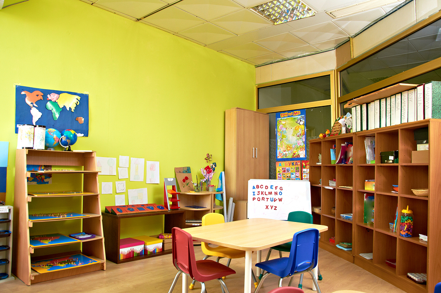 Interior of Montessori kindergarten preschool classroom, without children.
